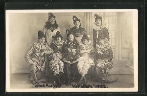 AK Jack Audley`s Varieties 1922, Harlekins und Clownsfrauen