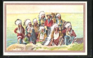 AK Buffalo Bill`s Wild West, Indianer mit Federschmuck, Völkerschau