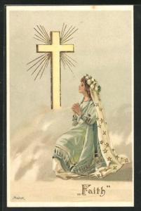Künstler-AK Alfred Mailick: Allegorie, Frau betet mit langem Schleier vor leuchtendem Kreuz, Faith
