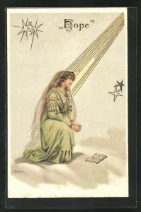 Künstler-AK Alfred Mailick: Allegorie, Frau mit langem Schleier kniet in einem Lichtstrahl, Hope