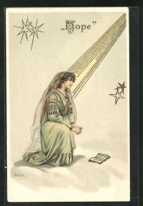 Künstler-AK Alfred Mailick: Allegorie, Frau wird von Lichtstrahl beschien und kniet vor Buch, Hope
