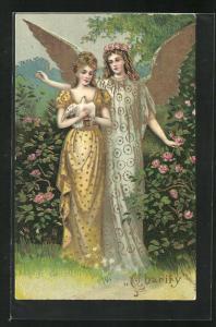 Präge-AK Engel bereitet Flügel über Frau mit Taube aus, Allegorie Charity, Rosen, goldene Farbe