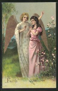 Präge-AK Engel neben junger Frau mit gefalteten Händen, Allegorie Faith, goldene Farbe