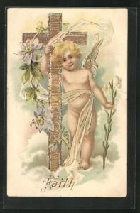 Präge-AK Engel, nacktes Kind mit goldenem Kreuz und Blumen, Allegorie Faith