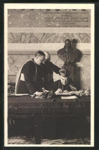 AK Cardinale Pietro Gasparri, Geistliche unterzeichnen Vertrag zwischen dem Vatikan und der ital. Regierung