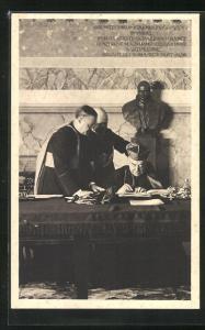 AK Cardinale Pietro Gasparri unterschreibt Vertrag zwischen dem Vatikan und der ital. Regierung