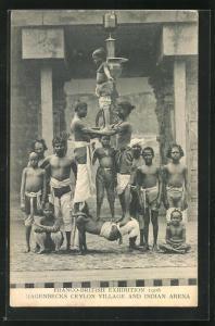 AK London, Franco-British Exhibition 1908, Hagenbecks Ceylon Village and Indian Arena, Völkerschau