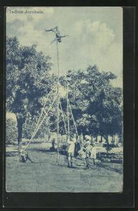 AK Indische Akrobaten bei einer Vorführung, Völkerschau
