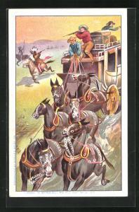 AK Cowboys schiessen von der Postkutsche aus auf Indianer, Völkerschau, Buffalo Bill`s Wild West