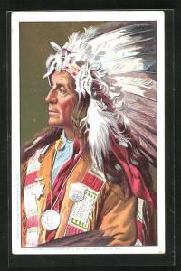 AK Indianerhäuptling mit prächtigem Federschmuck, Völkerschau, Buffalo Bill`s Wild West
