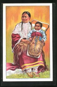 AK Indianerfrau mit ihrem Kind, Völkerschau, Buffalo Bill`s Wild West