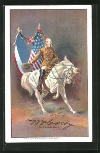 AK Cowboy Buffalo Bill reitet mit seinem Pferd an der amerikanischen und der französischen Flagge vorbei