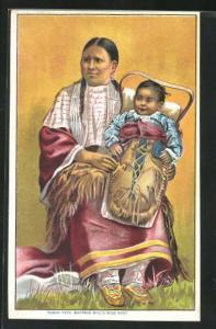 AK Indianerfrau mit ihrem Kind, Buffalo Bill`s Wild West
