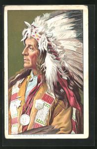 AK Indianerhäuptling mit prächtigem Federschmuck, Buffalo Bill`s Wild West
