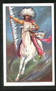 AK Indianerhäuptling sprintet mit seinem Pferd heran, Buffalo Bill`s Wild West