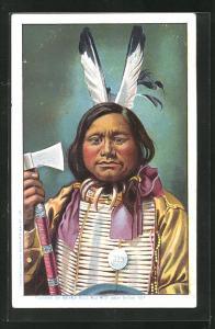 AK Indianer mit Tomahawk, Buffalo Bill`s Wild West