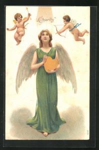 Präge-AK Amor umschwirrt einen Engel mit einem Herzen in der Hand, Allegorie, Charity