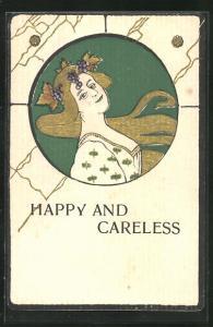 Präge-AK Happy and Careless, Schöne Frau mit Wein im Haar, Jugendstil