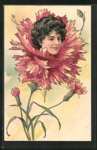 AK Frauenportrait auf roter Nelke, Jugendstil