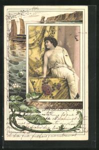AK Schöne Frau wartet auf ihren Liebsten, Schiff vor der Küste, Jugendstil