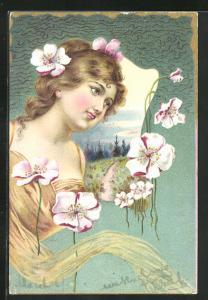 AK Hübsches Mädchen mit Blumen im Haar vor Landschaftsmotiv, Jugendstil