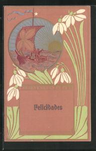 Präge-AK Segelboot bei Sonnenaufgang, Florale Jugendstil-Ornamentik