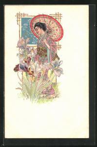 Künstler-AK Geisha erfreut sich an Schwertlilien, Jugendstil