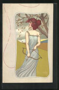 Künstler-AK Diana mit Pfeil und Bogen im Herbstwind, Jugendstil