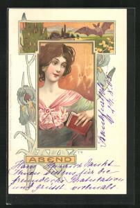 Lithographie Abend, Schönes Mädchen mit einem Buch, Fledermaus und Schwertlilien, Jugendstil