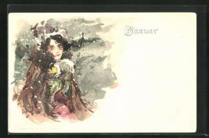Lithographie Januar, Maid mit Muff, Kalender, Allegorie, Jugendstil