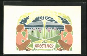 AK Greetings, zwei Satyre, Jugendstil