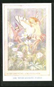Künstler-AK Margaret W. Tarrant: The Wood Anemone Fairies, Schmetterlingsmädchen tanzt zwischen den Blumen