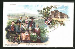 Lithographie Bayreuth, Wagnertheater, bayerische Trachten aus dem Hummelgau