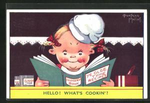 Künstler-AK Beatrice Mallet: Mädchen studiert ihr Kochbuch