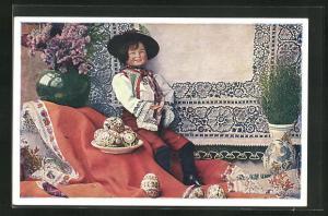 AK Tschechoslowakische Heimindustrie, Puppe in Tracht