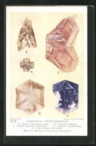 AK Edelstein, Crystals: Twin-Crystals, Gypsum, Staurolite, Calcite, Aragonite, Fluor
