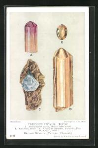 AK Edelstein, Precious Stones: Topaz, Parti-coloured crystal, Cut stone, Crystal in pegmatite