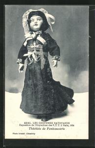 AK Paris, Exposition de l`Orphelinat des P. T. T. 1924, Les Costumes Savoyards, Theotiste de Fontcouverte, Puppe