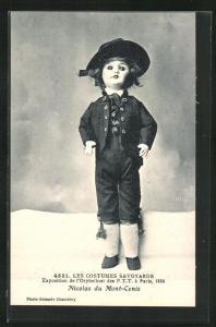 AK Paris, Exposition de l`Orphelinat des P. T. T. 1924, Les Costumes Savoyards, Nicolas du Mont-Cenis, Puppe