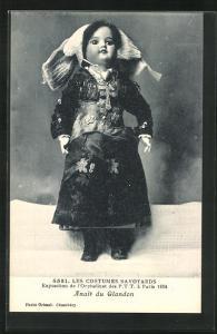 AK Paris, Exposition de l`Orphelinat des P. T. T. 1924, Les Costumes Savoyards, Anais du Glandon, Puppe