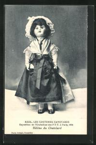 AK Paris, Exposition de l`Orphelinat des P. T. T. 1924, Les Costumes Savoyards, Helene du Chatelard, Puppe