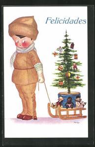 AK Kleiner Junge zieht einen Schlitten mit Tannenbaum und Puppen, Glückwunsch