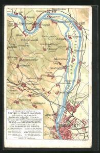 AK Die Linie der Königlich Ungarischen Fluss- und Seeschiffahrts Aktiengesellschaft, Landkarte mit Szob, Izbeg und Vacz