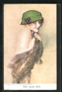 Künstler-AK Raphael Kirchner: The Glad Eye, Dame mit Hut bedeckt sich mit einem Pelz