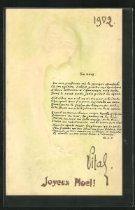 Präge-Künstler-AK Raphael Kirchner: Profil von Frau mit Dutt, unsigniert