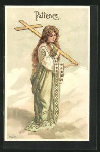 Künstler-AK Alfred Mailick: Allegorie Patience, Frau mit Kreuz auf der Schulter