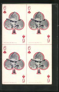AK Spielkarte Kreuz 6 mit Cowboy