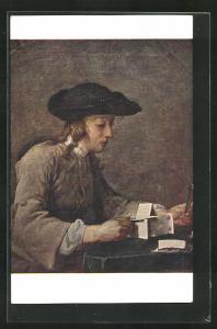 Künstler-AK sign. Chardin: Das Kartenhaus