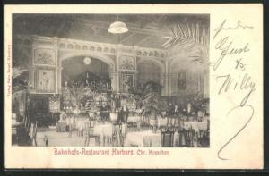 AK Hamburg-Harburg, Bahnhofs-Restaurant, Innenansicht