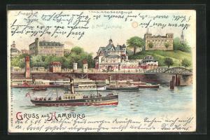 Lithographie Hamburg-St. Pauli, Fährhaus, Seewarte und Dampfer A. Bangerl, Halt gegen das Licht